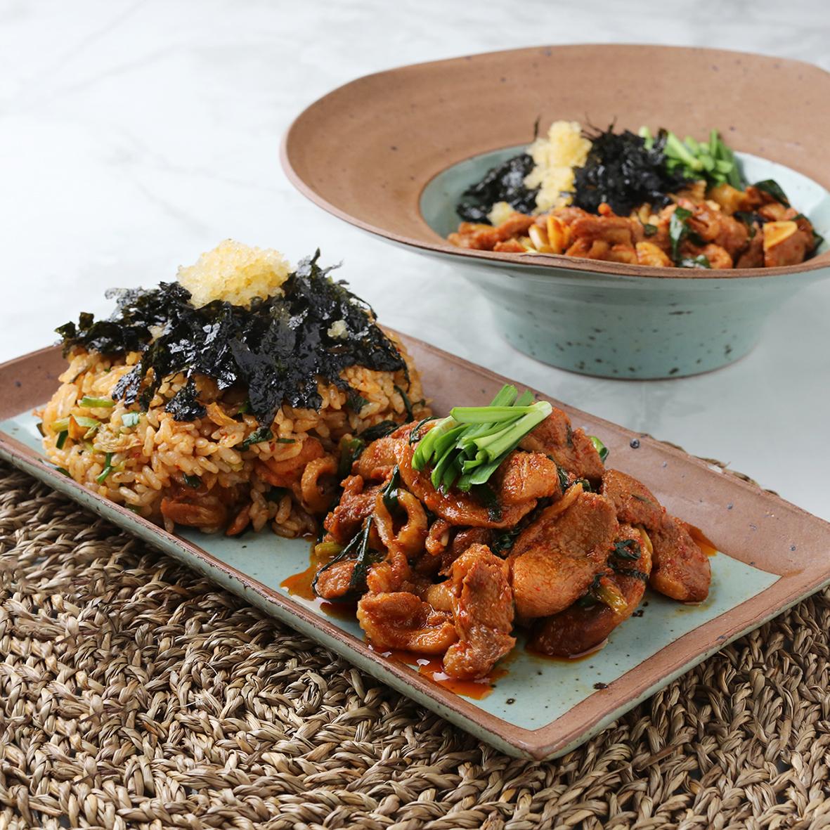 돼지주물럭과 김치 알밥