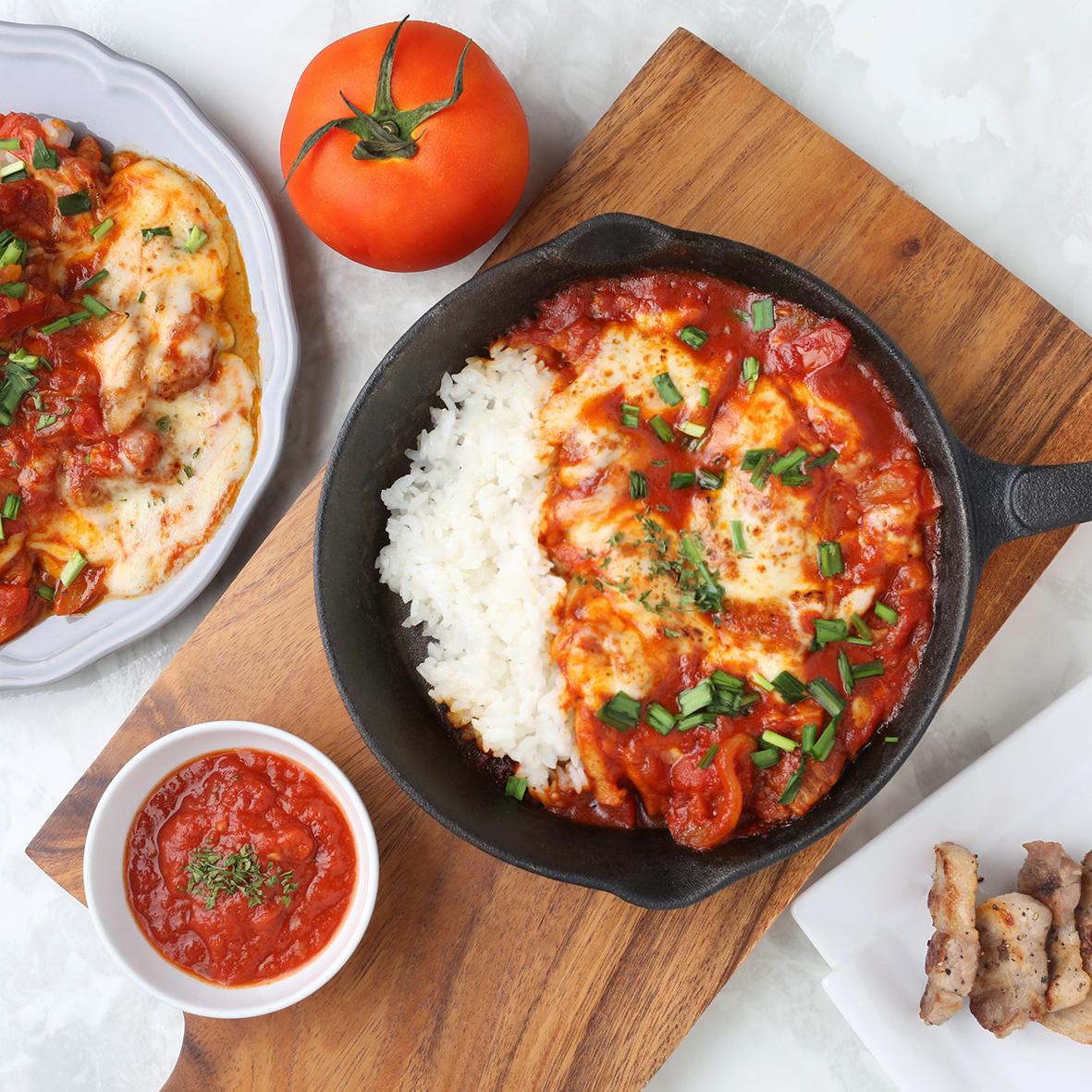 토마토 칠리 치즈 제육덮밥