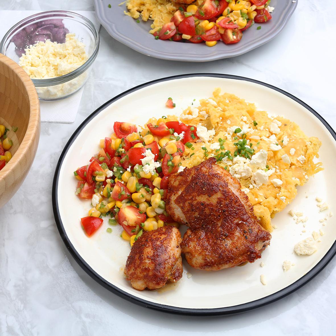 케이준 치킨과 콘살사
