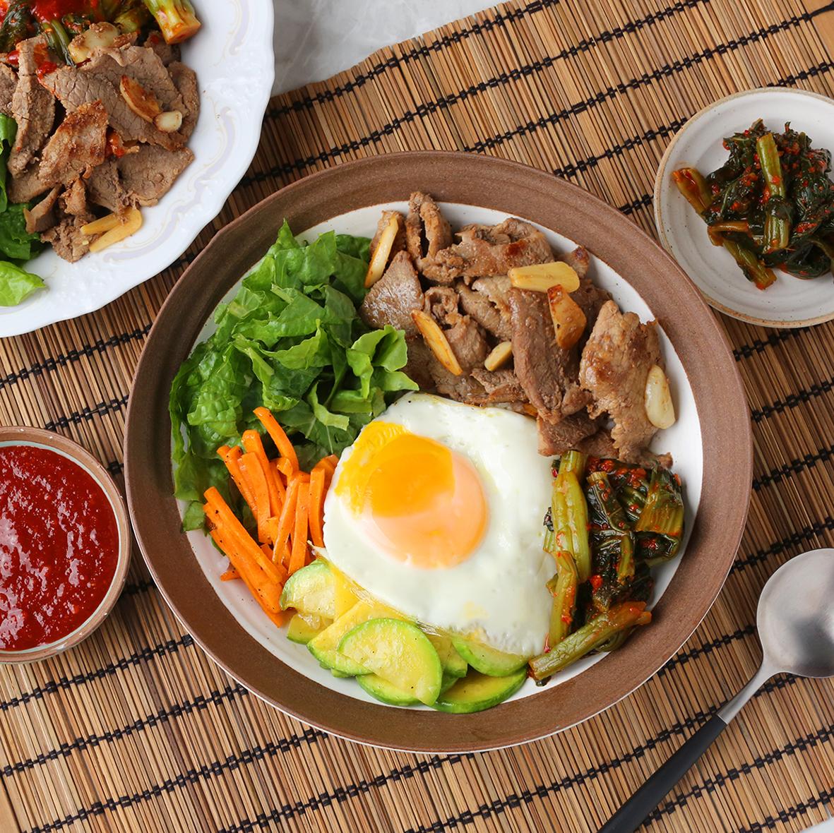 갓김치 비빔밥과 한우불고기